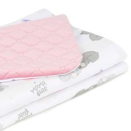 MAMO-TATO Kocyk dla dzieci i niemowląt 75x100 Velvet pikowany dwustronny - Niedźwiadki z niebieskim / różany