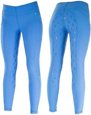 Bryczesy LEAH damskie z silikonowym lejem Horze - niebieskie