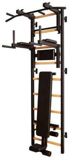 Drabinka gimnastyczna z drewnianymi szczebelkami, drążkiem, poręczami i ławką 713B BenchK 240 x 67 cm - 713B