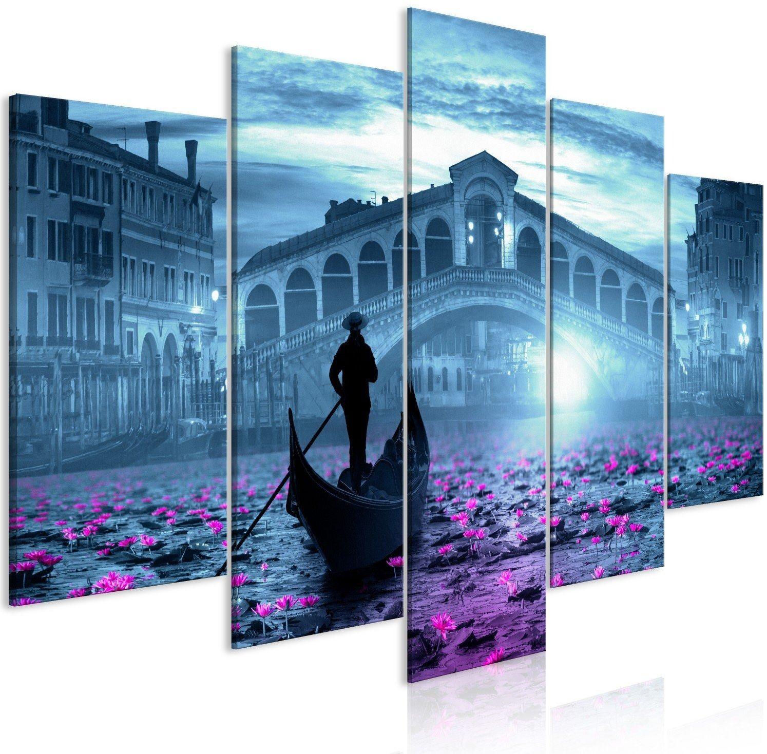Obraz - magiczna wenecja (5-częściowy) szeroki niebieski