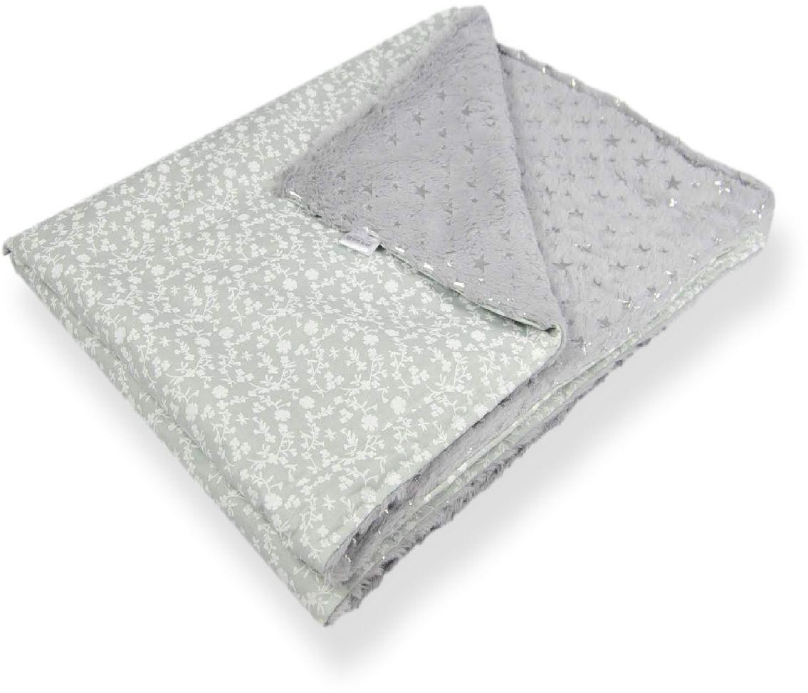 kocyk minky szary srebrne gwiazdki listki 100x75cm