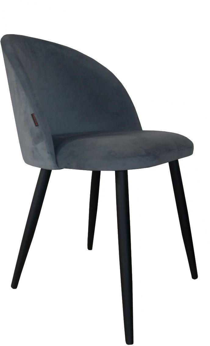 Krzesło CLAUDINE 1 BL VELVET ciemno szare kubełkowe na czarnych nogach  KUP TERAZ - OTRZYMAJ RABAT