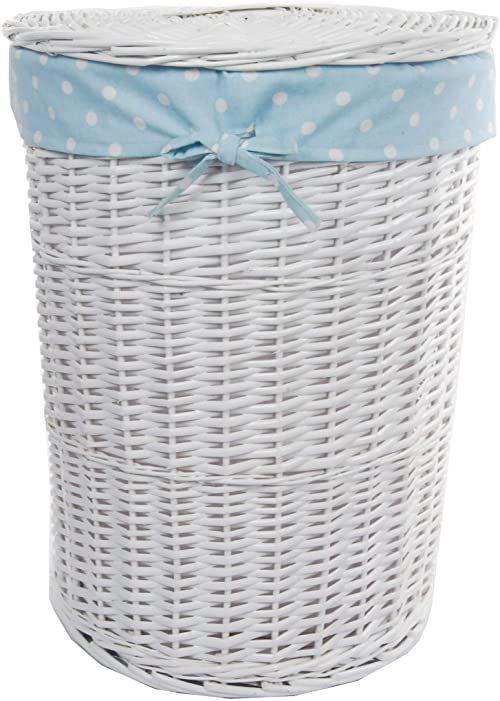 DVier Kosz na pranie, wiklinowy, okrągły, biały, błękitny, pokrywa, pokrowiec, śr. 39 cm wys. 55 cm