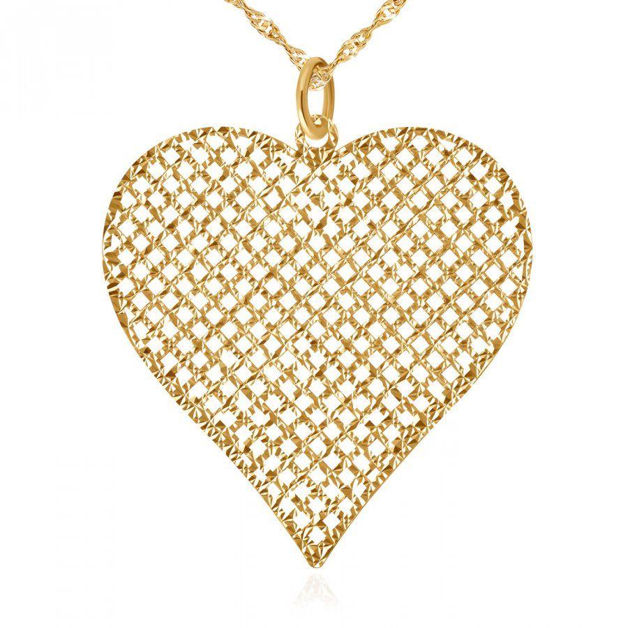 Zawieszka złota serce z łańcuszkiem w pudełku z grawerem dla niej na