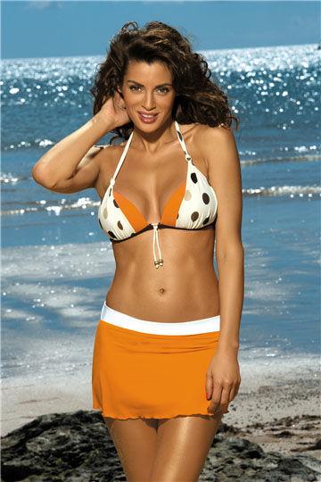 Spodniczka Meg Incas-Bianco M-266 Mandarynkowo-biala (296)