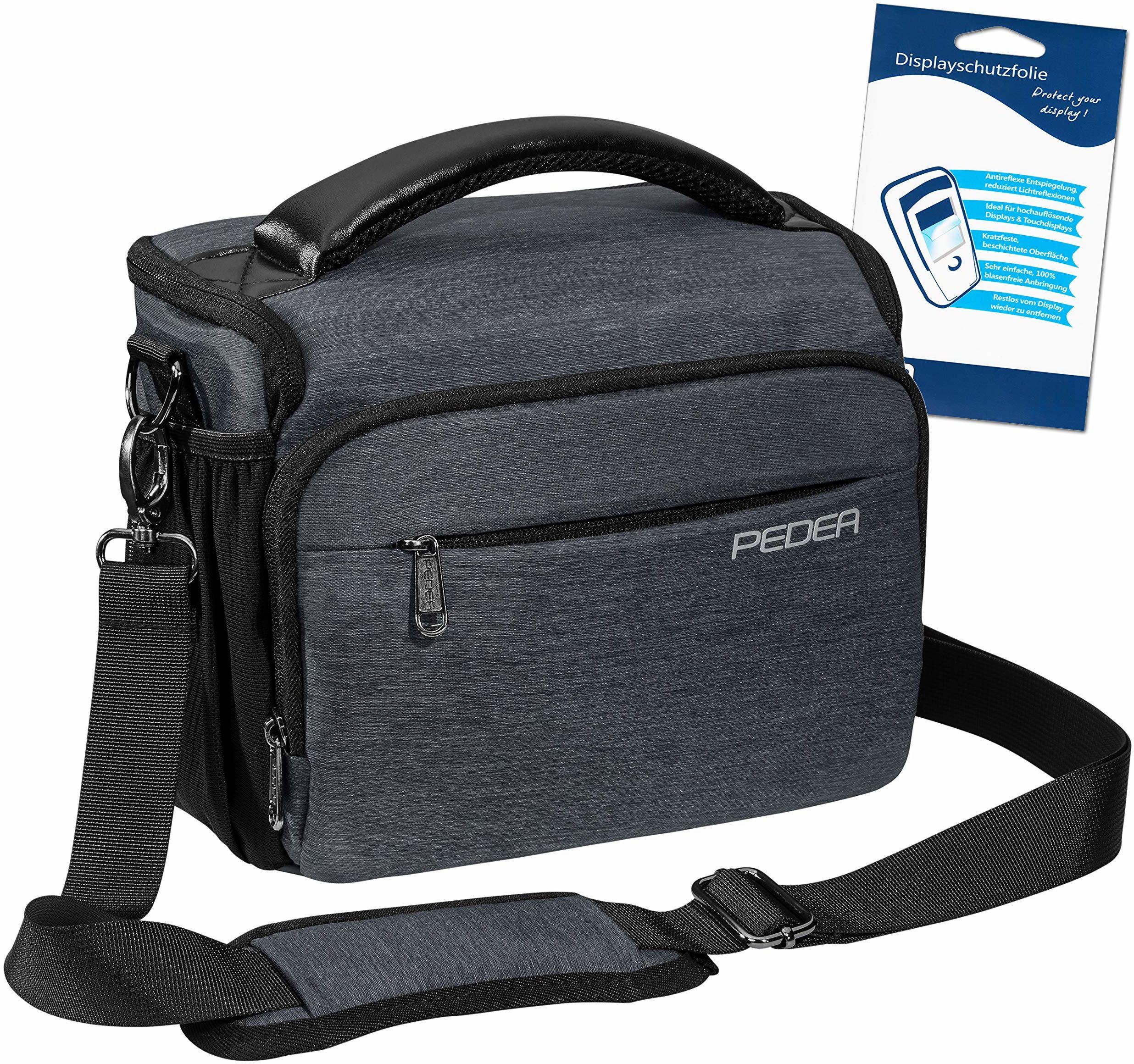 "PEDEA DSLR torba na aparat""Noble"" z folią ochronną na wyświetlacz do Canon EOS 5D Mark II 400D 2000D / Nikon D60 D80 D90 D3100 D3200 D3300 D3400 D5300 D7100 / Pentax K 30 K 500 K, rozm. XL szary"