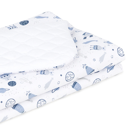 MAMO-TATO Kocyk dla dzieci i niemowląt 75x100 Velvet pikowany dwustronny - Kosmos / biały