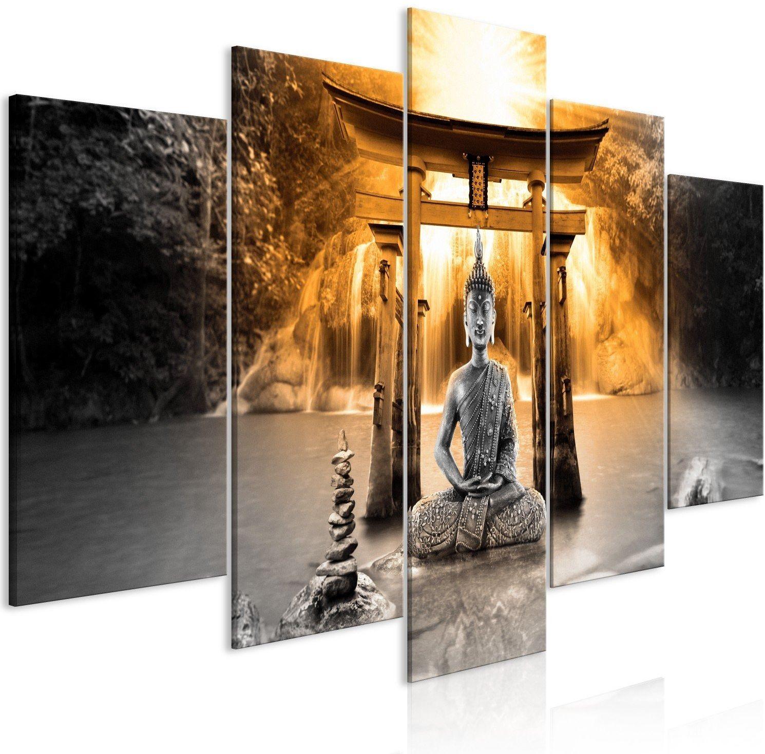 Obraz - uśmiech buddy (5-częściowy) szeroki pomarańczowy