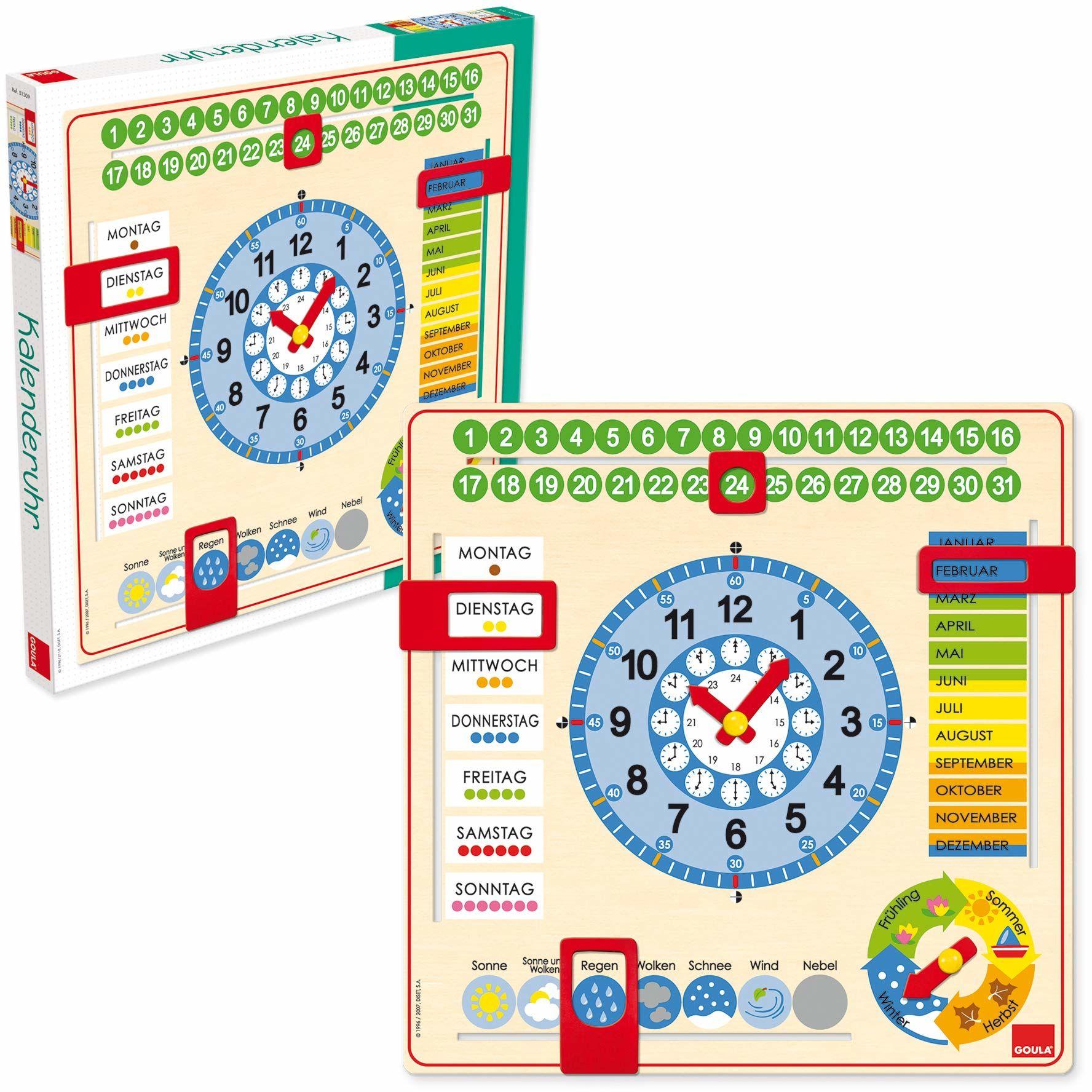 GOULA  kalendarz w dużym formacie  drewniana zabawka dla małych dzieci  od 3 lat