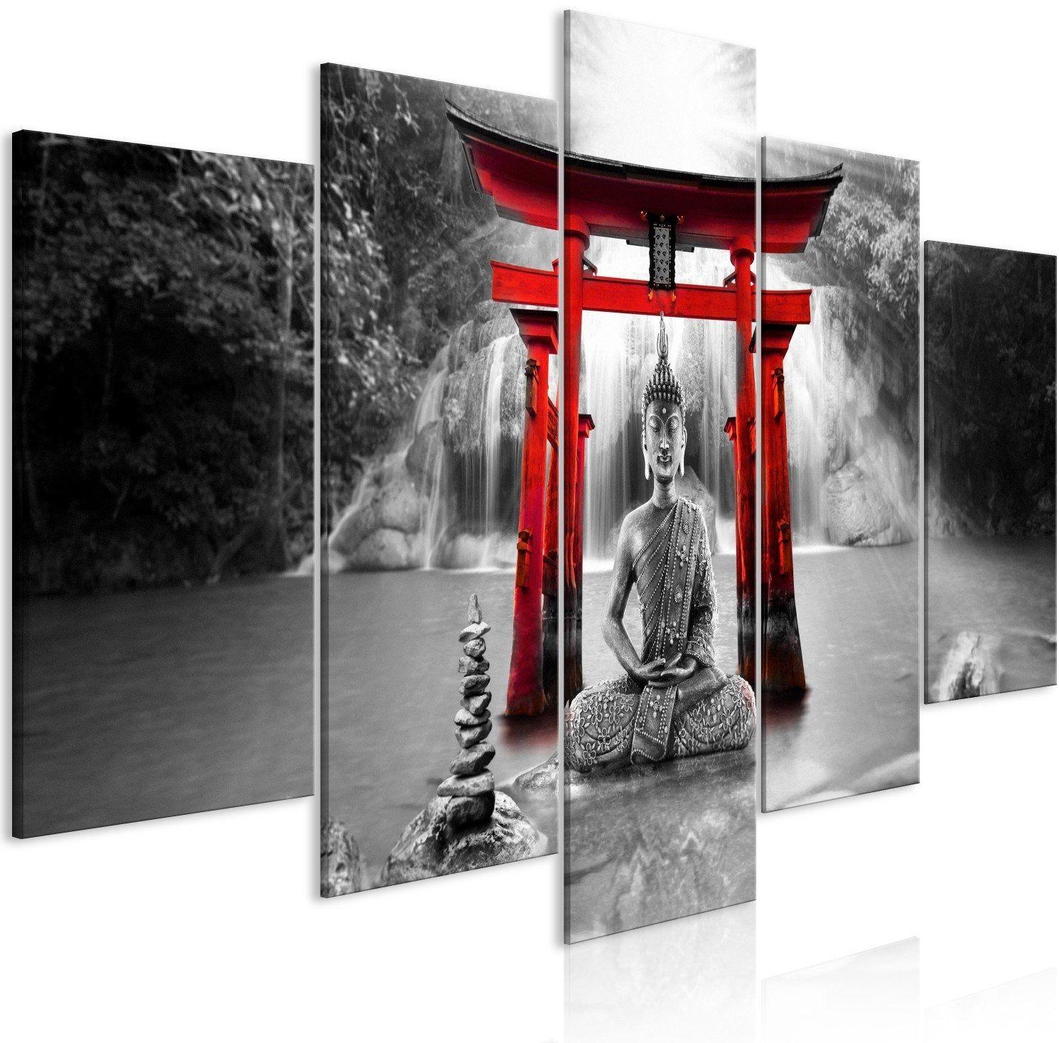Obraz - uśmiech buddy (5-częściowy) szeroki czerwony