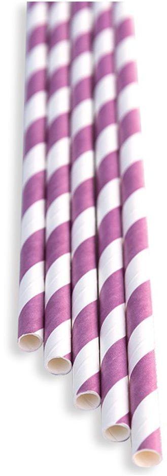 Słomki papierowe różowo - białe