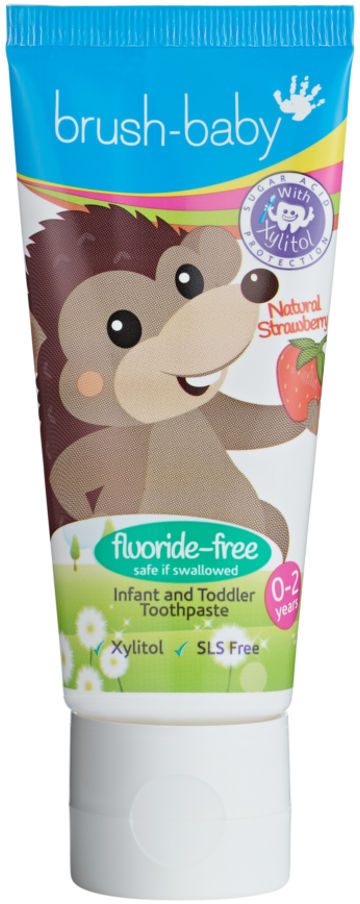 BRUSH-BABY FLUOR FREE Strawberyy 50ml - pasta do zębów dla dzieci bez fluoru (0-2)
