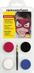 Eberhard Faber 579015 Spiderman, zestaw do makijażu dla dzieci, kolory: niebieski, czerwony, czarny i biały, łącznie z pędzelkiem, rozpuszczalny w wodzie, szybkoschnący, do malowania twarzy