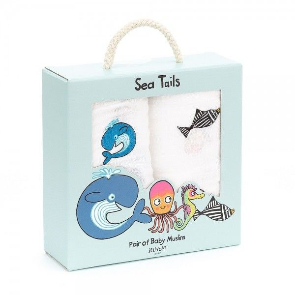 Jellycat - Pieluszki Muślinowe sea