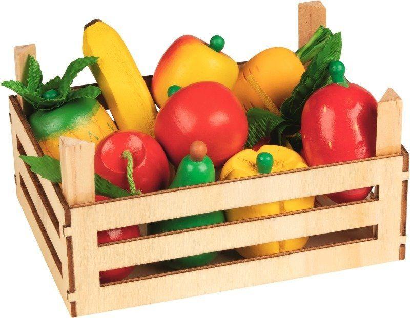 Drewniane owoce i warzywa w skrzyneczce, 51658-Goki, zabawa w sklep