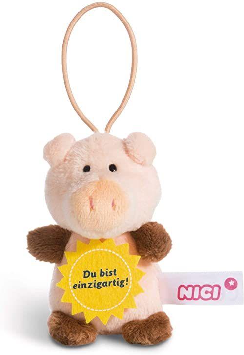 """NICI 44866 zawieszka świnka z sentencją """"Du bist einzigartigen 8 cm z pętli, różowy/brązowy"""