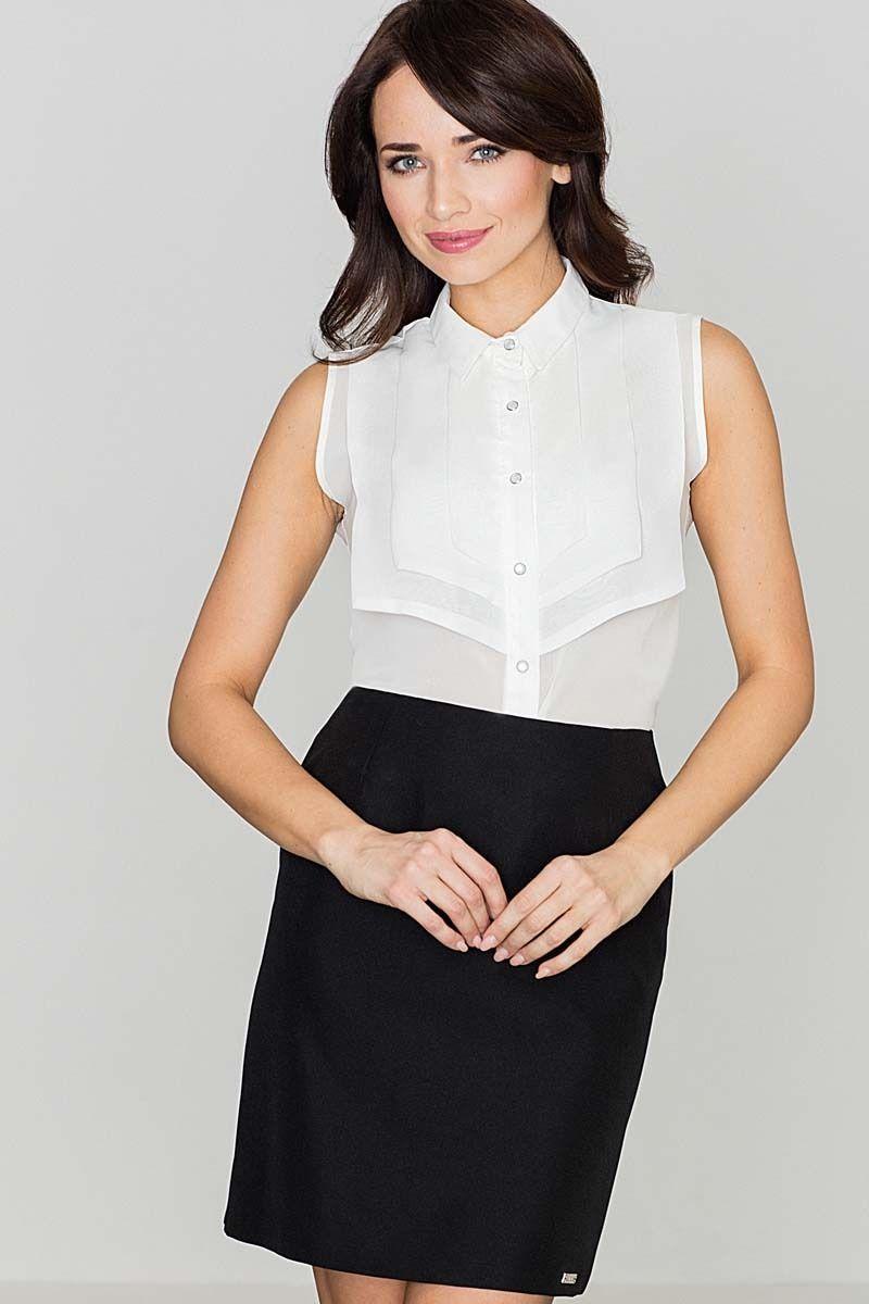 Koszulowa ecru bluzka bez rękawów z ozdobnym karczkiem