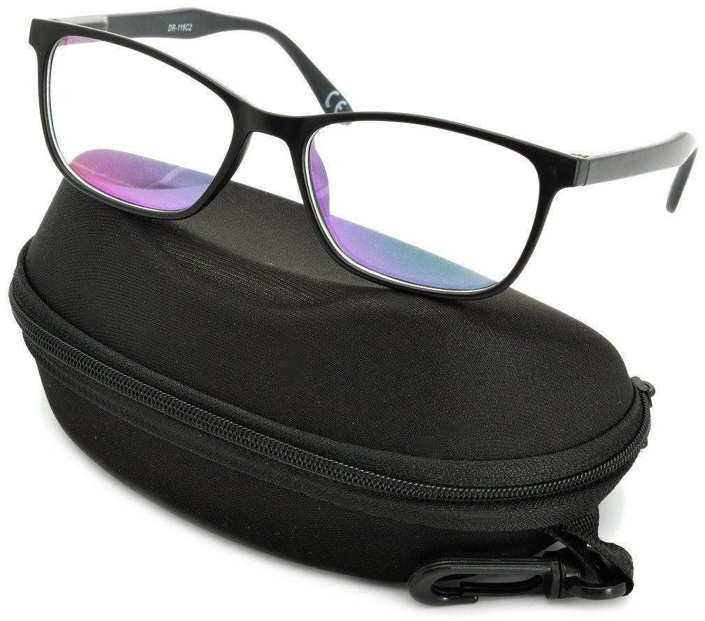 Okulary z filtrem Antyrefleksyjne zerówki Nerdy prostokątne DR-116-C2