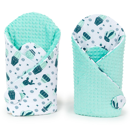 MAMO-TATO Rożek niemowlęcy dwustronny minky - Kaktusy / miętowy