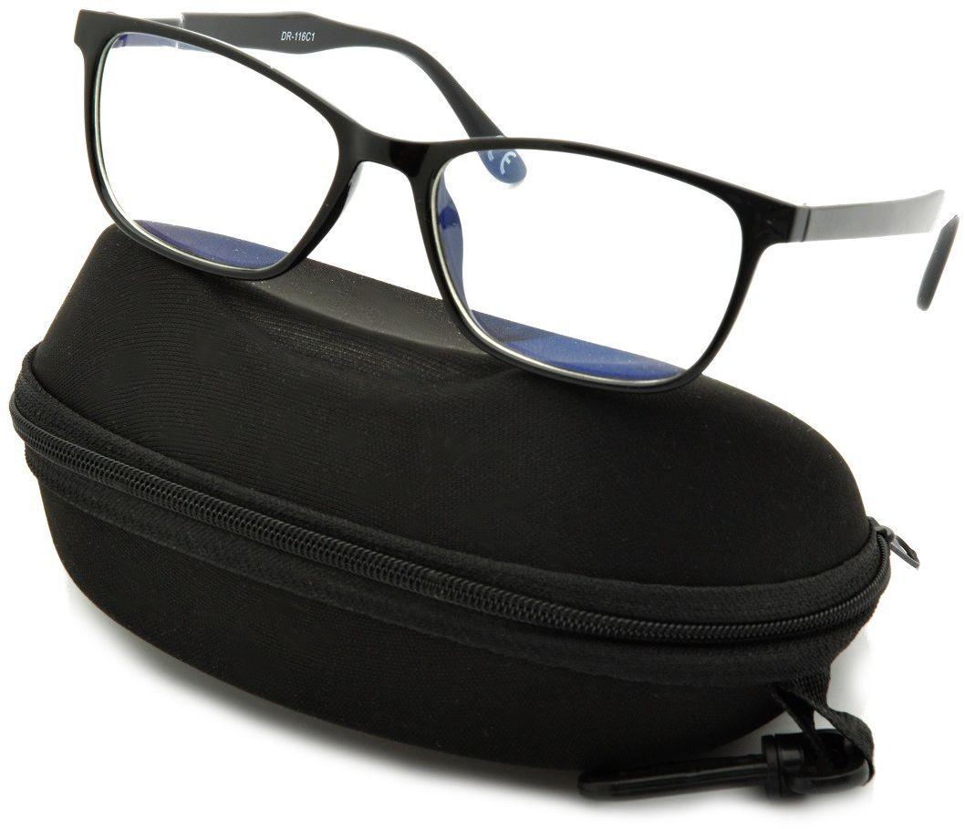 Okulary z filtrem Antyrefleksyjne zerówki Nerdy prostokątne DR-116-C1