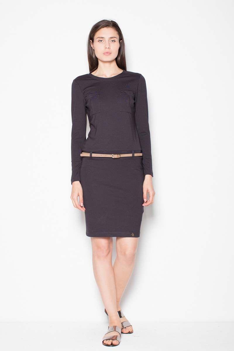 Czarna sukienka prosta ze skórzanym paskiem