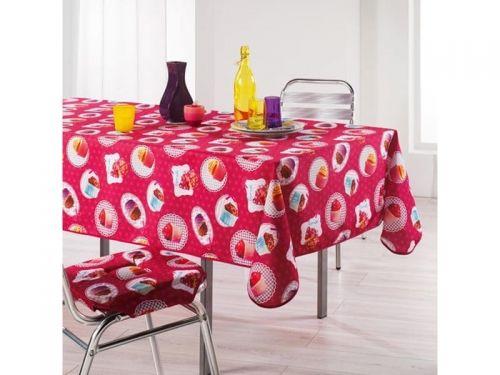 OBRUS PLAMOODPORNY - Cupcakes Różowy 150x240