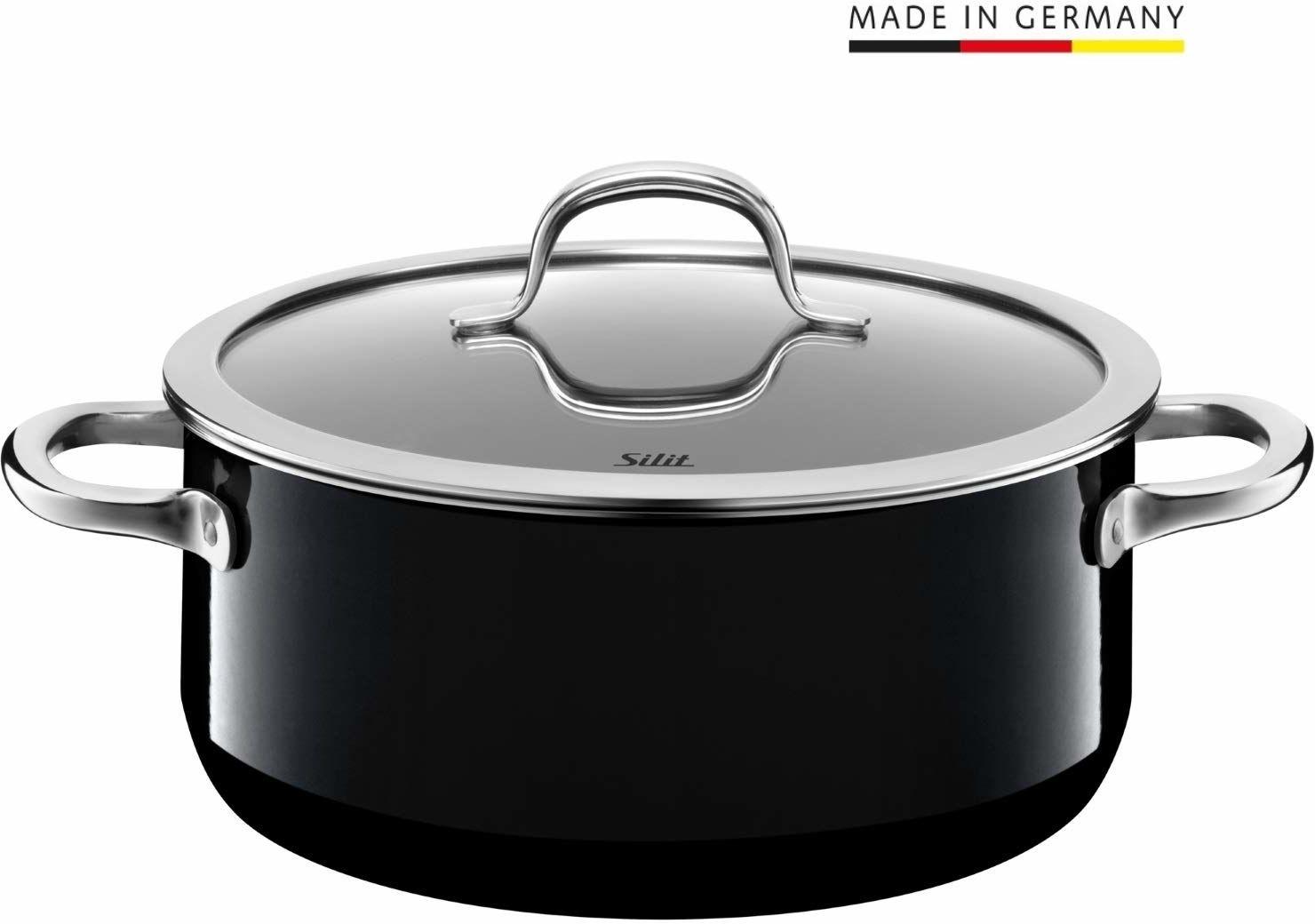 Silit Passion Black garnek do gotowania 24 cm, szklana pokrywka, garnek do pieczenia 4,4 l, Silargan, ceramika funkcyjna, garnek indukcyjny, czarny