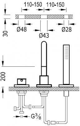 Study-Tres Bateria wannowa trzyotworowa chrom pokrętło - 26115001