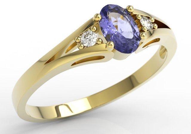 Pierścionek zaręczynowy z żółtego złota jp-22z z tanzanitem i diamentami 0,04 ct.