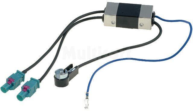 Separator antenowy Fakra wtyk x2 - ISO wtyk kątowy; Audi, Seat, Škoda, VW
