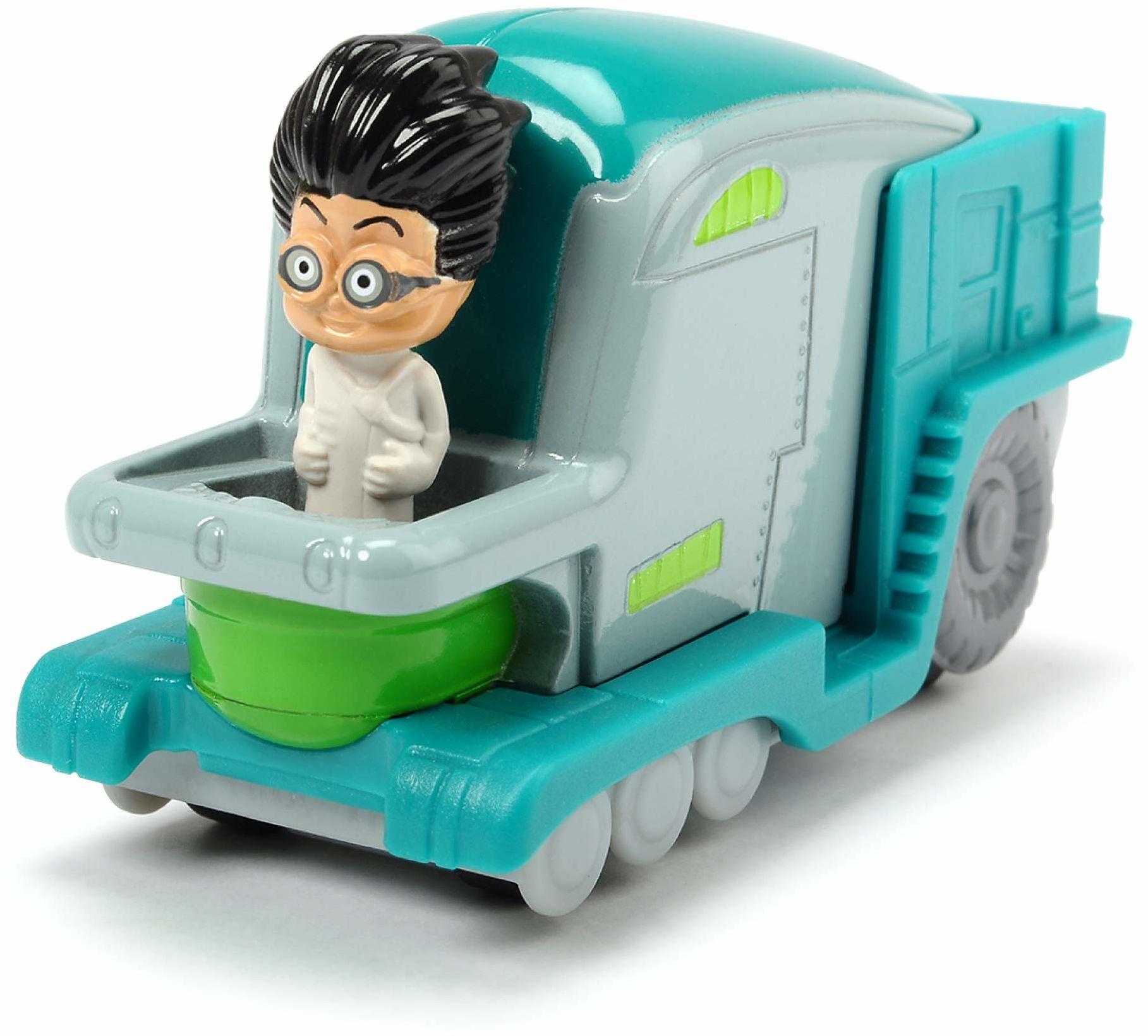 Dickie Toys PJ Masks Romeo''s Labor Flitzer, Romeo''s Labor pojazd z metalu, wolnobieg, 7 cm, od 3 lat