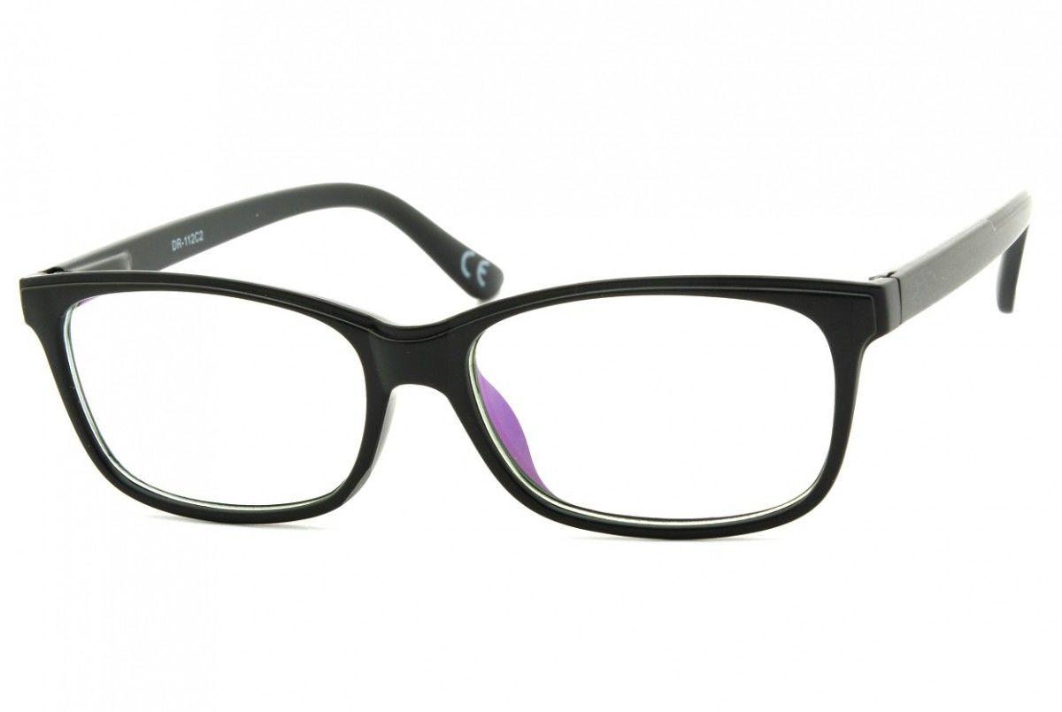Okulary z filtrem Antyrefleksyjne zerówki Nerdy prostokątne DR-112-C2
