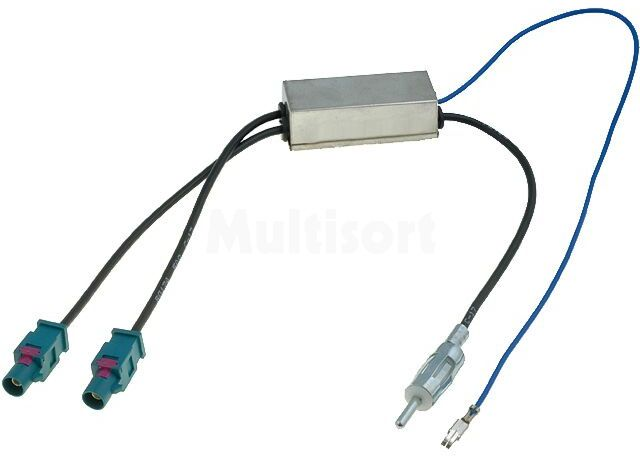 Separator antenowy Fakra wtyk x2 - DIN wtyk; Audi, Seat, Škoda, VW