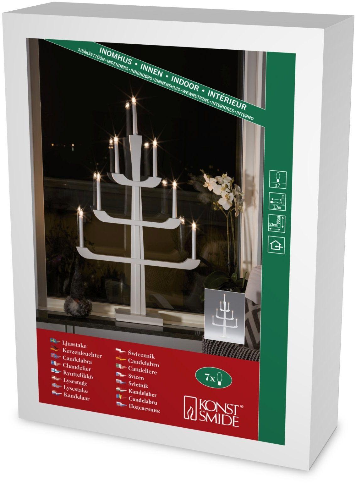 Konstsmide Drewniany świecznik, lakierowany na biało, 7 przezroczystych żarówek, 230 V, wewnątrz, biały kabel 3585-210