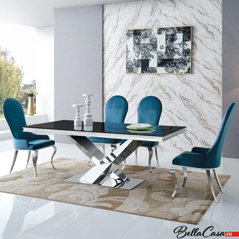 Stół glamour Cameron 200x100x75 - stal szlachetna blat kamienny nowoczesny
