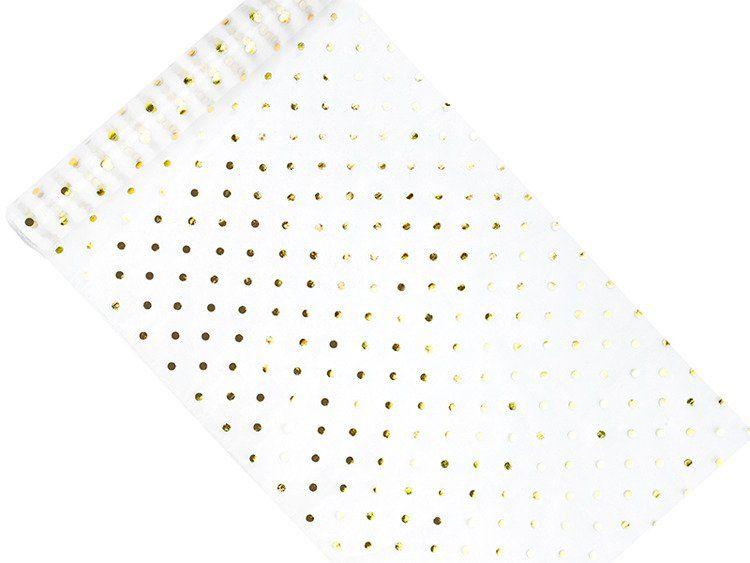 Organza 36cm 1 rolka 9m biała ze złotym nadrukiem ORD6-008