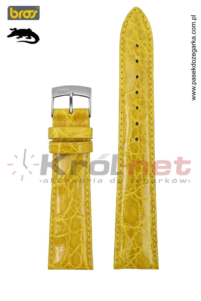 Pasek do zegarka Bros 8134/60/18 - krokodyl, ciemny żółty