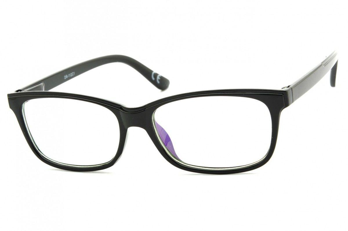 Okulary z filtrem Antyrefleksyjne zerówki Nerdy prostokątne DR-112-C1