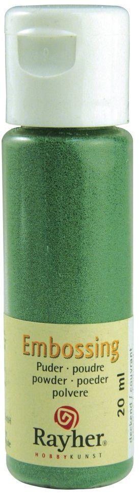 RAYHER 28000426, puder do embossingu, butelka 20 ml, kryjący, wiecznie zielony