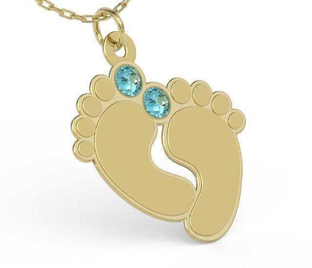 Naszyjnik ze srebra POZŁACANY z łańcuszkiem w kształcie stóp z cyrkoniami Swarovski BLUE - Grawer GRATIS!