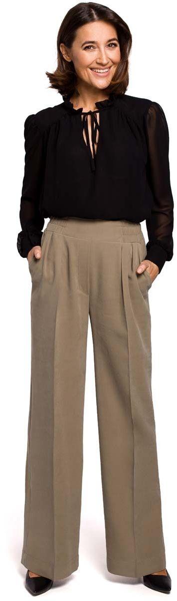 Khaki stylowe spodnie na gumie z szerokimi nogawkami.