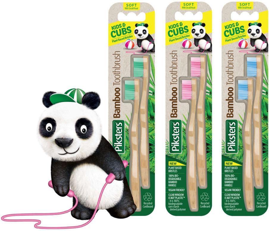 PIKSTERS Bamboo KIDS Twin - zestaw ekologicznych szczoteczek do zębów dla dzieci