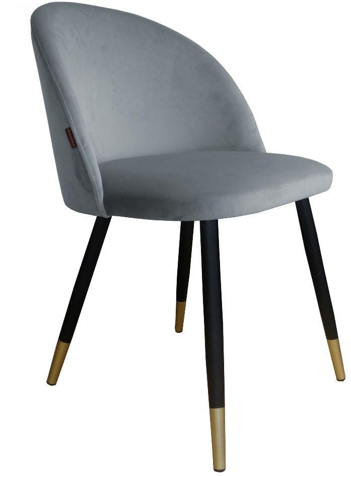 Krzesło CLAUDINE 1 VELVET GOLD szare