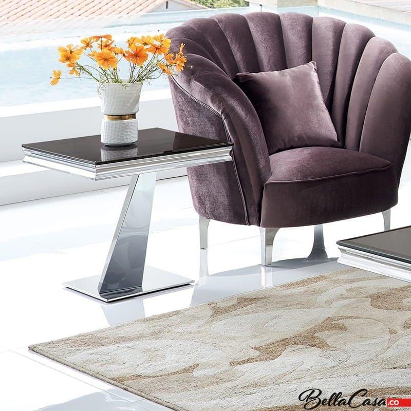 Stolik kawowy glamour Cameron 60x60x58 - stal szlachetna blat szklany nowoczesny