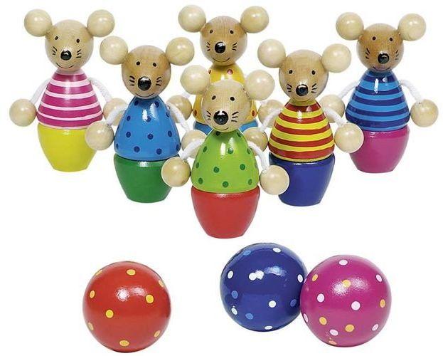 Kręgle myszki, 56943-goki - gry drewniane