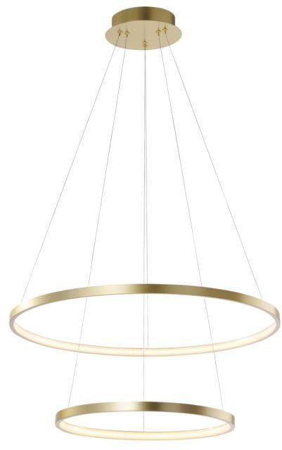 Gold LED ring double - żyrandol 70cm pierścienie złoty mat