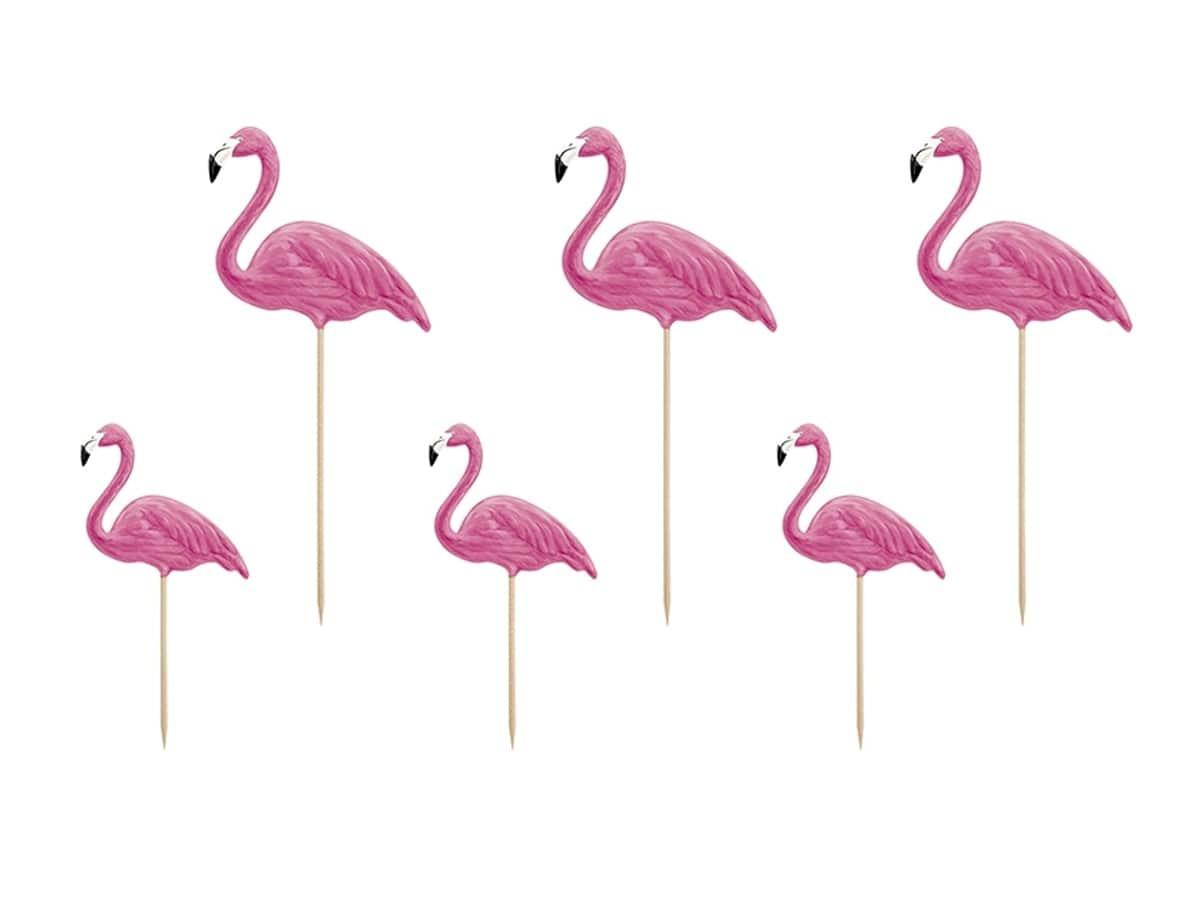 Toppery na tort i babeczki Flamingi - 23 cm - 6 szt.