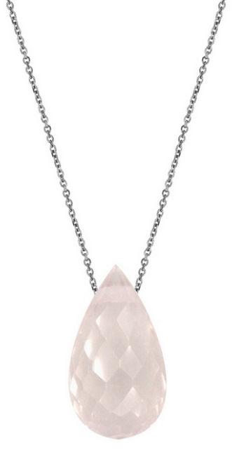 Srebrny naszyjnik 925 łańcuszek ankier z łezką Kwarc Różowy