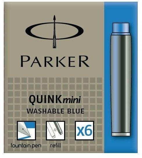 Naboje do pióra Parker Quink Mini, opakowanie 6 sztuk, krótkie, niebieskie, zmywalne -  Rabaty  Porady  Hurt  Autoryzowana dystrybucja  Szybka dostawa