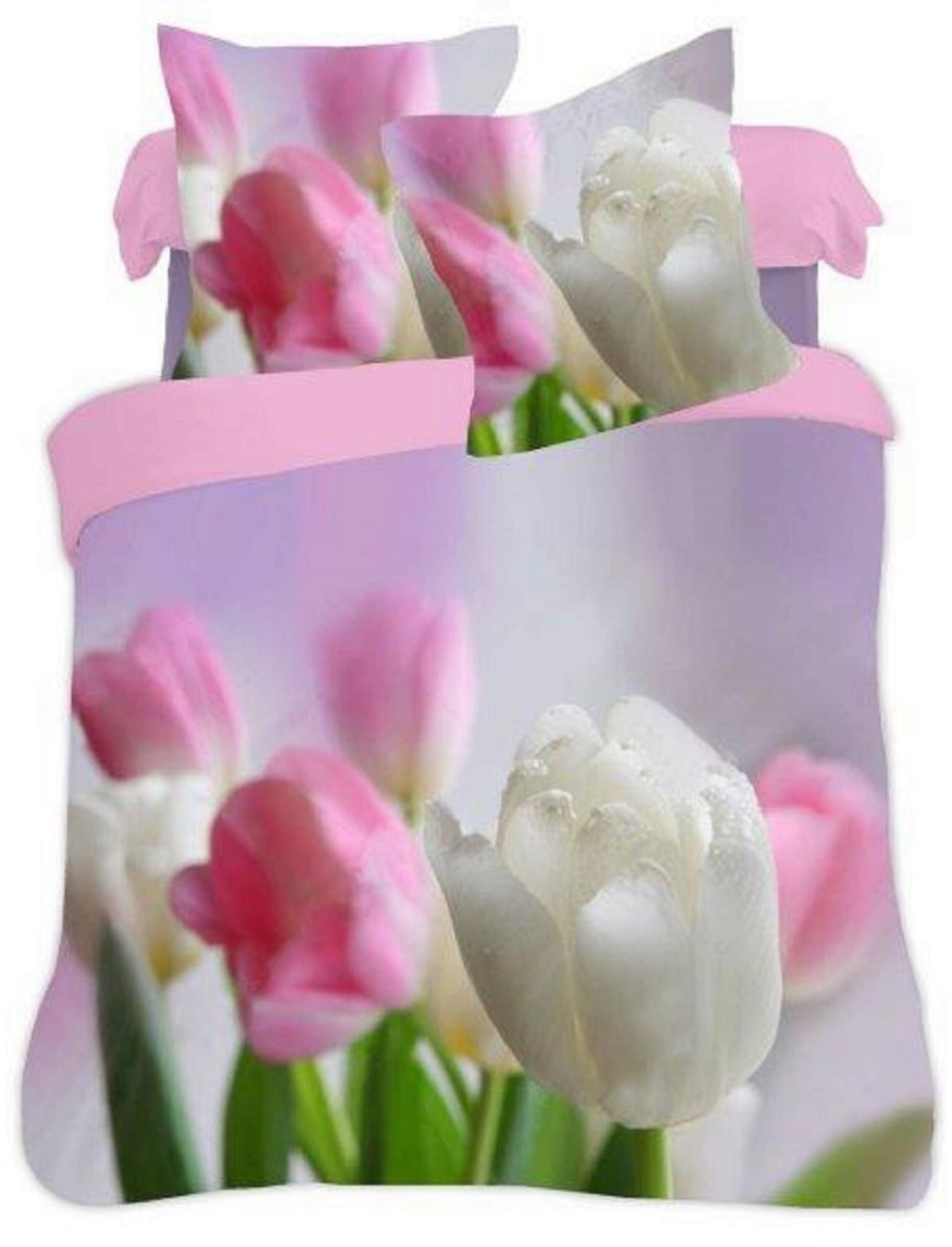 Pościel 160x200 bwełniana 3D Tulipany